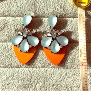Bauble Bar orange and pale blue statement earrings